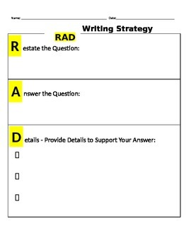 RAD Writing (Restate, Answer, Details) Graphic Organizer