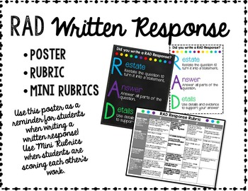 RAD Written Response Poster and Rubric