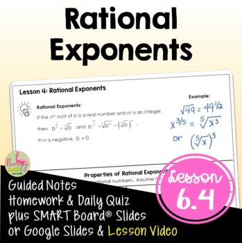 Rational Exponents Algebra 2 Unit 6 By Jean Adams TpT