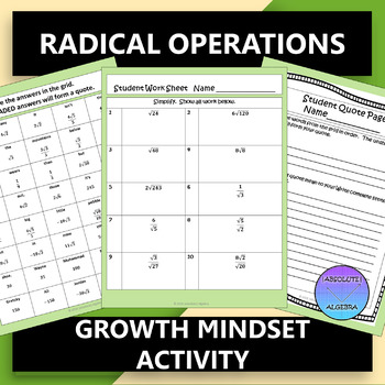Radicals Growth Mindset Activity: Simplify, Add, Subtract, Multiply, Rationalize