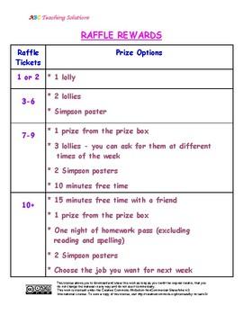 RAFFLE TICKETS REWARD CHART