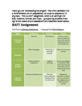 RAFT Assignment for Science