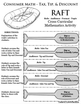 RAFT Consumer Math Tax Tip Discount Cross-Curricular Differentiated