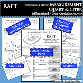 RAFT Measurement Quart Liter Customary Metric Cross-Curricular Differentiated