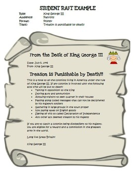 FREE RAFT (Role, Audience, Format, Topic) Introduction, Template, Rubric