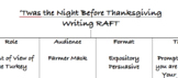 RAFT Thanksgiving Writing