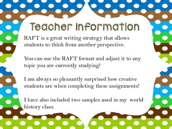 RAFT Writing Assignment
