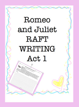 RAFT Writing: Romeo and Juliet Act 1 ONLY