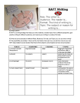 RAFT Writing Strategy with practice - Middle School Social Studies