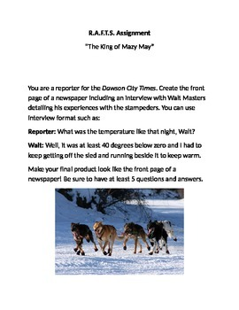 """RAFTS Assignment: """"The King of Mazy May"""" by Jack London"""