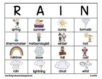 RAIN--Weather Bingo