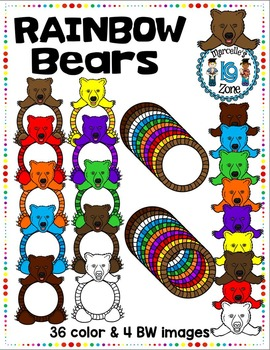 RAINBOW BEARS- BEAR TOPPERS AND FRAMES
