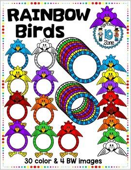 RAINBOW BIRDS- BIRD TOPPERS AND FRAMES