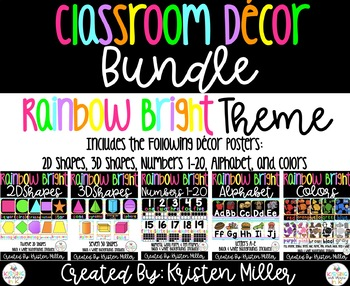 RAINBOW BRIGHT THEME Classroom Decor Bundle