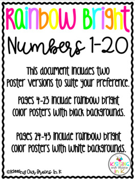 RAINBOW BRIGHT THEME Classroom Decor Posters- Numbers 1-20