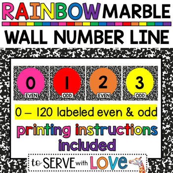 RAINBOW Black & White Marble // Large Wall Number Line 0-100 // Odd and Even
