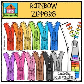 RAINBOW Zippers {P4 Clips Triorignals Digital Clipart}