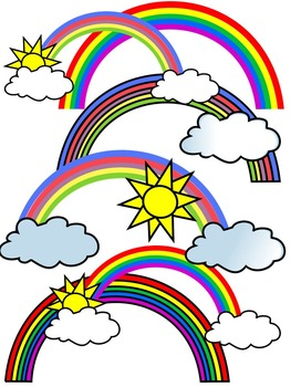 RAINBOW CLIP ART * COLOR AND BLACK AND WHITE