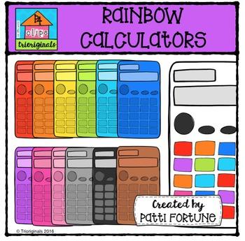 RAINBOW Calculators {P4 Clips Trioriginals Digital Clip Art}
