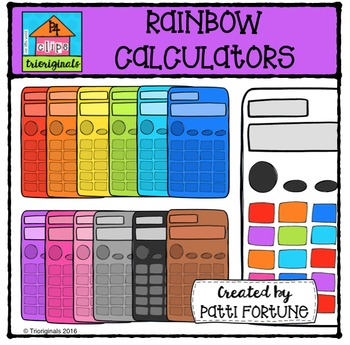 RAINBOW Calculators {P4 Clips Trioriginals Digital Clip Art}