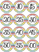 RAINBOW Classroom Decor Clock Labels! Chevron and Polka Dot