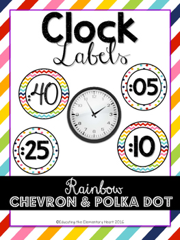 RAINBOW Classroom Decor Clock Labels! Chevron and Polka Dot