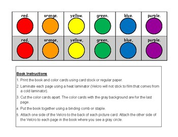 RAINBOW Colors Adapted BOOK, AUTISM, Speech Therapy, Reading