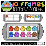 RAINBOW Cookie 10 FRAMES (P4 Clips Trioriginals) COUNTING CLIPART