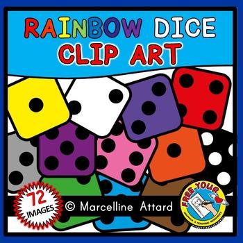 DICE CLIPART: MATH CLIPART: RAINBOW DICE CLIPART