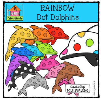 RAINBOW Dot Dolphins {P4 Clips Trioriginals Digital Clip Art}