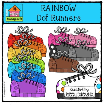RAINBOW Dot Runners {P4 Clips Trioriginals Digital Clip Art}