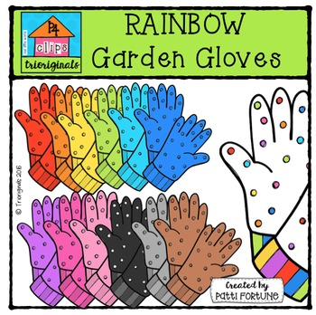 RAINBOW Garden Gloves {P4 Clips Trioriginals Digital Clip Art}