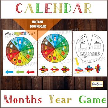RAINBOW MONTHS WHEEL, Circle month game, Spinner for preschool activity