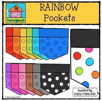 RAINBOW Pockets {P4 Clips Trioriginals Digital Clip Art}