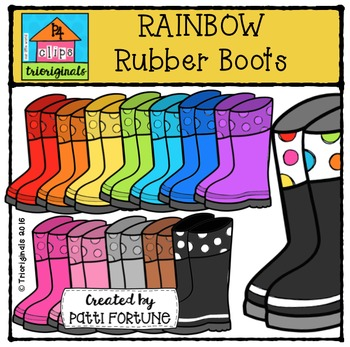 RAINBOW Rubber Boots {P4 Clips Trioriginals Digital Clip Art}