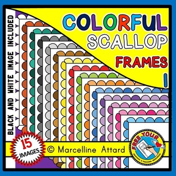 SCALLOP FRAMES: RAINBOW FRAMES CLIPART: OMBRE CLIPART FRAMES: COLORFUL BORDERS