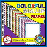 RAINBOW SCALLOP BORDERS AND FRAMES CLIPART
