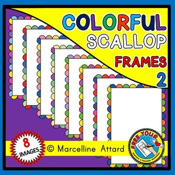 FREE CLIPART FRAMES: RAINBOW SCALLOP FRAMES