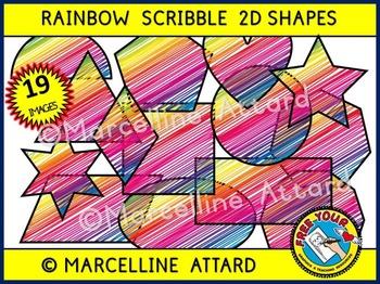 2D SHAPES CLIP ART: SCRIBBLE CLIPART SHAPES: MATH CLIPART: FLAT SHAPES CLIPART