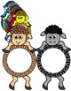 RAINBOW SHEEP- SHEEP TOPPERS AND FRAMES