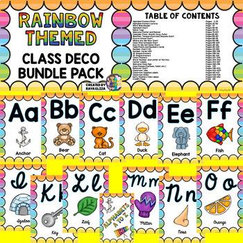 RAINBOW THEME Classroom Decor Mega Bundle Pack EDITABLE BACK TO SCHOOL