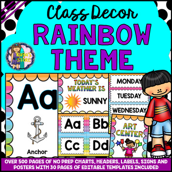RAINBOW THEME Classroom Decor Mega Bundle Pack EDITABLE BACK TO SCHOOL