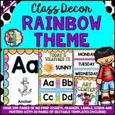 RAINBOW THEME Classroom Decor Mega Bundle Pack EDITABLE BA