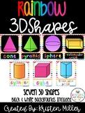 RAINBOW THEME Classroom Decor Posters- 3D Shapes