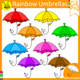 RAINBOW SPRING UMBRELLAS, RAIN Clip Art Gif and Png