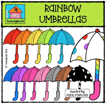 RAINBOW Umbrellas {P4 Clips Trioriginals Digital Clip Art}