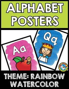 RAINBOW WATERCOLOR CLASSROOM DECOR (ALPHABET POSTERS WITH PICTURES)