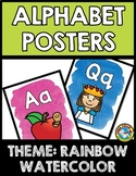 RAINBOW WATERCOLOR CLASSROOM DECOR (ALPHABET POSTERS WITH