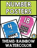 RAINBOW WATERCOLOR CLASSROOM DECOR: NUMBER POSTERS WITH TE