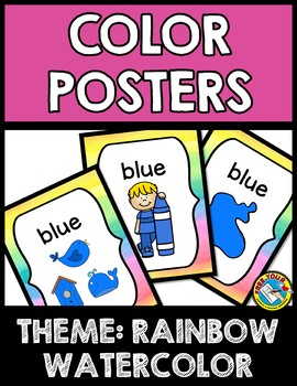 RAINBOW WATERCOLOR CLASSROOM DECOR SET (COLOR POSTERS FOR KINDERGARTEN +)